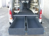 Custom Double Rear Drawers Open in Hiace Van
